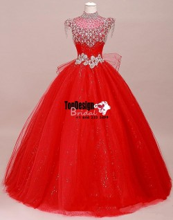 Wholesale 2017 Sweet 15 Dress sparkle High Collar Quinceanera Dresses Beading Crystal Wedding Pr ...