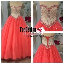 Wholesale 2017 Sweet 15 Dress Sweetheart Beaded Formal Party Prom Evening Ball Gown Long Quincea ...