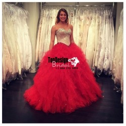 Wholesale 2017 Sweet 15 Dress Tulle Ball Gown Red Quinceanera Dress With Beaded Bodice Sweet 16  ...