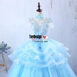 Wholesale Vestidos De Fiesta New 2017 Sweet 15 Dress Blue Ruffled Organza Quinceanera Ball Gown  ...