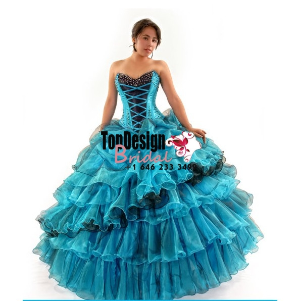 Wonderful turquoise and black beaded organza ruffles corset puffy sweet 15 quinceanera dress
