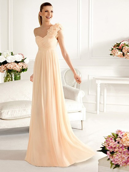 Floor-length Popular One Shoulder Chiffon with Flower(s) Bridesmaid Dresses in UK