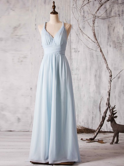 Gorgeous V-neck Chiffon Floor-length Ruffles Backless Bridesmaid Dress in UK