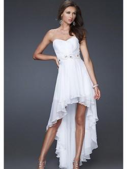 Sweetheart Asymmetrical Chiffon Dress with Beading