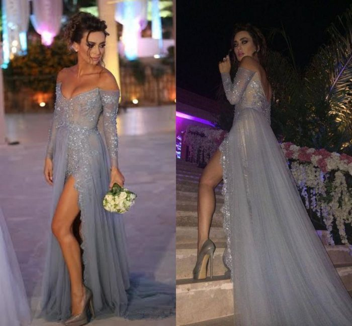 Paolo Sebasitan Evening Dresses 2016 Off The Shoulder Long Sleeves A Line Grey Lace Sexy High Si ...