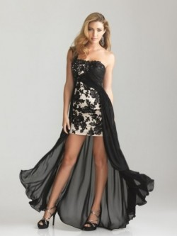 A-Line One Shoulder Long Sleeveless Ruffles Chiffon Dress