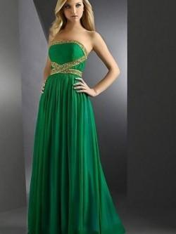 A-line Strapless Floor-length Chiffon Beadings Sleeveless Dress