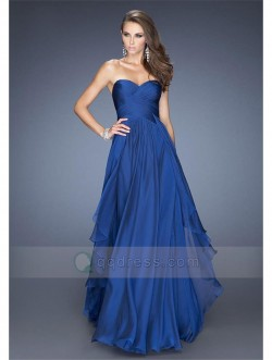 A-line Strapless Sweetheart Pleated Floor-length Prom Dress