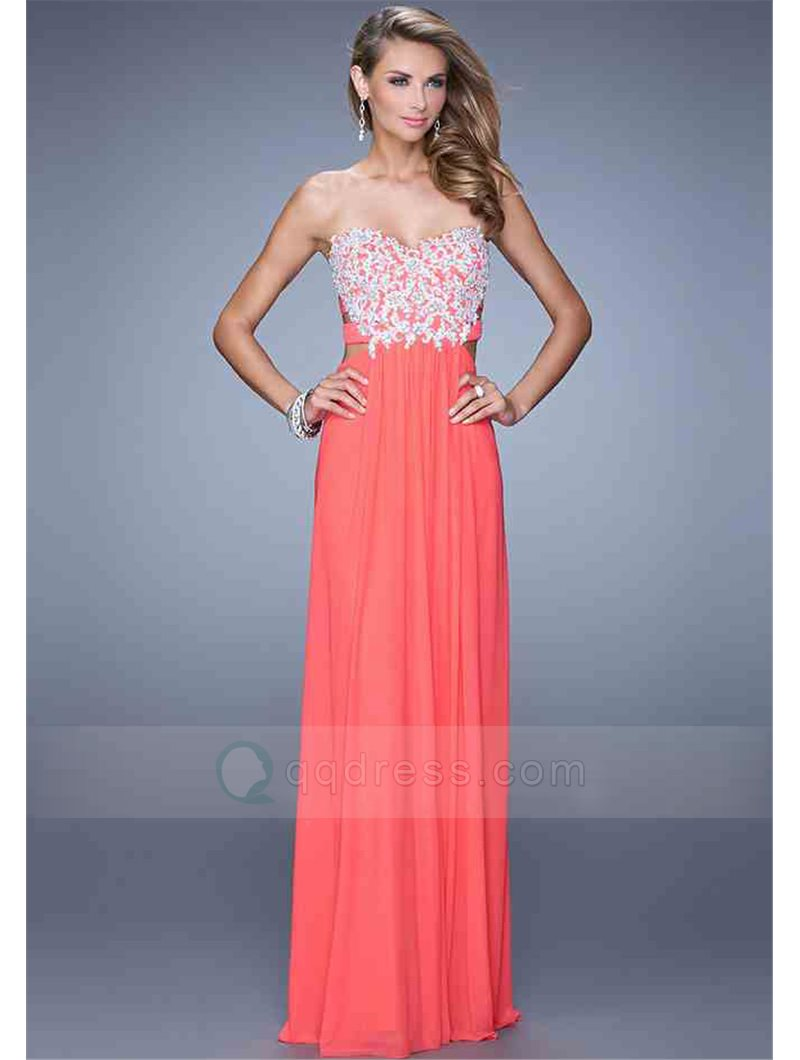 A-line Sweetheart Beaded Crossed Straps Back Chiffon Floor-Length Dress