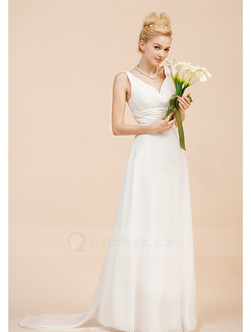 A-line V-neck Spaghetti Straps Chapel Train Chiffon Beach Wedding Gowns