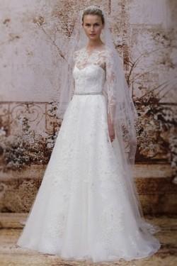 Günstig Modernes Spitze Ivory A-Linie Brautkleider aus Spitze mit Ärmeln
