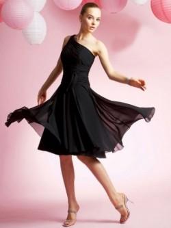 One Shoulder A-line Ruffles Sleeveless Knee-length Chiffon Dress