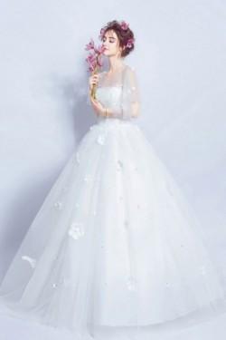 Royale robe de mariée 2017 princesse cape fleurie – Persun.fr