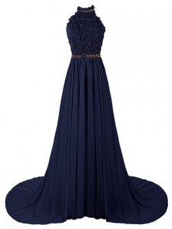 Shop A-line Halter Dark Navy Tulle Chiffon Beading Sweep Train Backless Perfect Ball Dresses in  ...