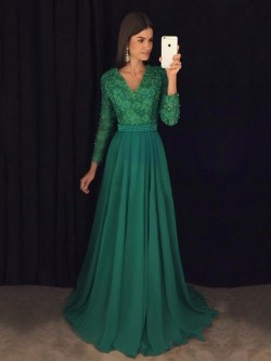 Shop A-line V-neck Chiffon with Appliques Lace Sweep Train Long Sleeve Beautiful Ball Dresses in ...