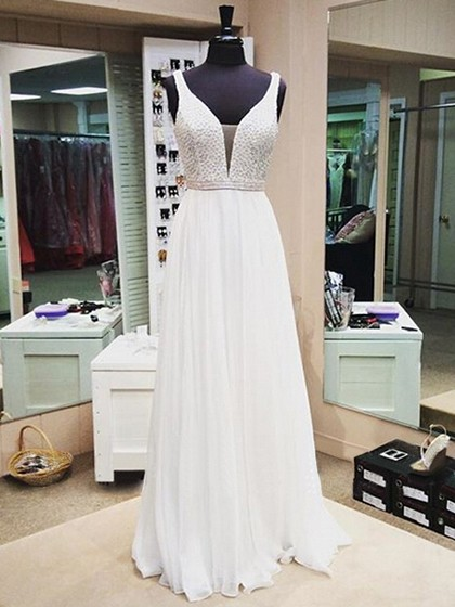 Shop A-line V-neck Chiffon with Beading Floor-length Boutique Long Ball Dresses in New Zealand
