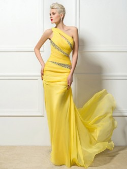 Shop Chiffon One Shoulder Sweep Train Sheath/Column with Beading Ball Dresses in New Zealand