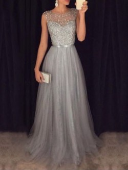 Shop Fashion A-line Scoop Neck Tulle with Beading Floor-length Long Ball Dresses in New Zealand