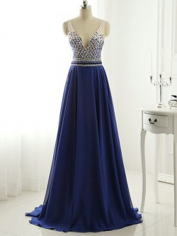 Shop Fashion Royal Blue A-line V-neck Chiffon with Beading Sweep Train Open Back Ball Dresses in ...