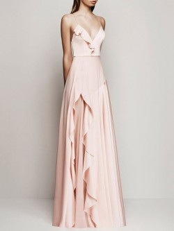 Shop Glamorous A-line V-neck Chiffon with Ruffles Floor-length Ball Dresses in New Zealand