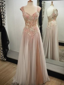 Shop Gray V-neck Tulle Appliques Lace Cap Straps A-line Ball Dress in New Zealand