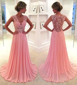 Shop Nicest Sweep Train Appliques Lace Pink Chiffon V-neck Ball Dresses in New Zealand