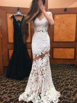 Shop Scoop Neck Ivory Tulle Appliques Lace Sweep Train Trumpet/Mermaid Open Back Newest Ball Dre ...