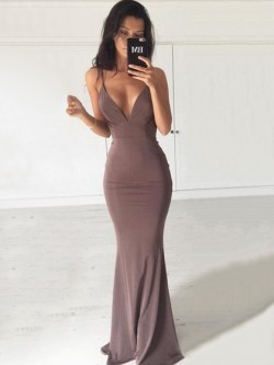Shop Trumpet/Mermaid V-neck Jersey with Ruffles Sweep Train Backless Hot Ball Dresses in New Zealand