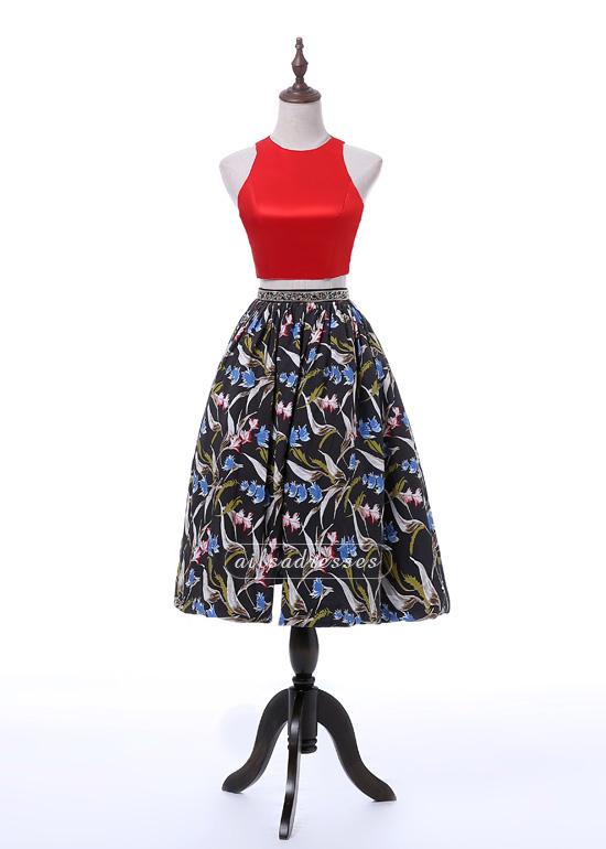 Ailsa Two Pieces Red Halter Crisscross Back Tea-Length Homecoming Dress 2017 [A-013] – $12 ...