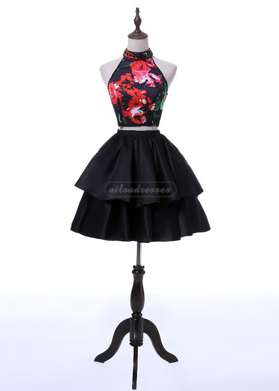 New Arrival A-line High Neck Keyhole Back Printed Homecoming Sweet 16 Dress 2017 [A-014] – ...