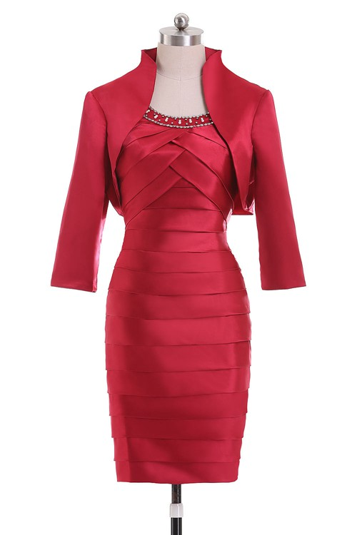 Sheath Scoop Knee Length Satin Mother Of The Bride Dress [VIVIDRESS988] – R1430 : vividres ...