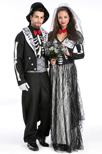 Halloween zombie bride style ladies mask costume costumes Vampire style men's disguise costume