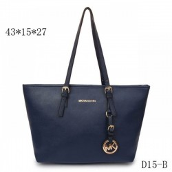 Cheap Michael Kors Jet Set Travel Leather Top-Zip Tote Navy Blue