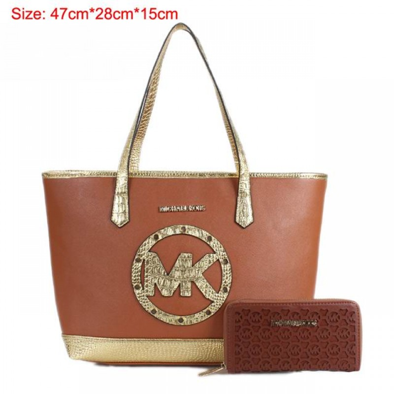 Cheap Michael Kors Two-Pieces Gia Novelty Crocodile Textured Tote Brown