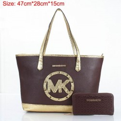Cheap Michael Kors Two-Pieces Gia Novelty Crocodile Textured Tote Coffee