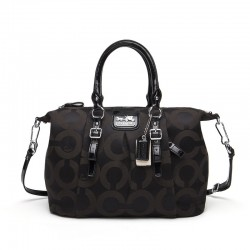 Coach Madison Signature Satchel In Hand-worked Leather Black