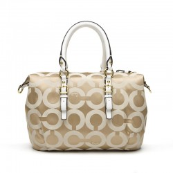 Coach Madison Signature Satchel In Hand-worked Leather White