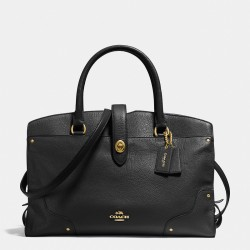 Coach Mercer Satchel In Grain Leather Black
