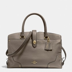 Coach Mercer Satchel In Grain Leather Grey
