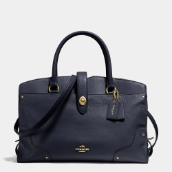 Coach Mercer Satchel In Grain Leather Navy Blue