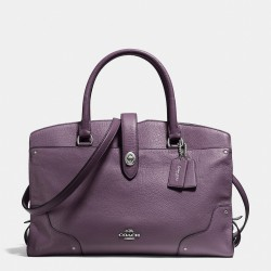 Coach Mercer Satchel In Grain Leather Purple