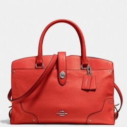 Coach Mercer Satchel In Grain Leather Red