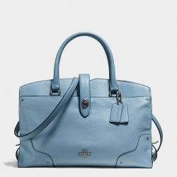 Coach Mercer Satchel In Grain Leather Sky Blue