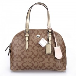 Coach Peyton Signature Satchel In Leather Gold