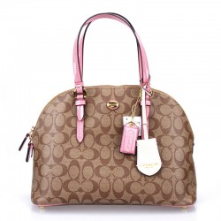 Coach Peyton Signature Satchel In Leather Pink