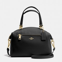 Coach Rairie Satchel In Pebble Leather Black