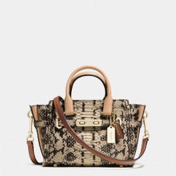 Coach Swagger Carryall 20 In Colorblock Exotic Embossed Leather Brown