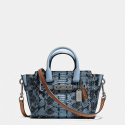 Coach Swagger Carryall 20 In Colorblock Exotic Embossed Leather Sky Blue