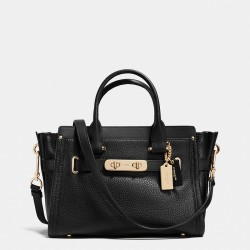 Coach Swagger Carryall 27 In Pebble Leather Black