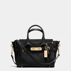 Coach Swagger Carryall 20 In Pebble Leather Black
